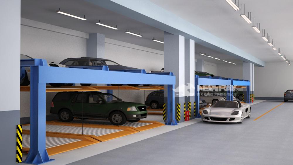 本案例展示的是青岛新锐动画为青岛某立体停车场制作的三维演示动画。动画中通过三维技术,可视化的模拟了停车场的布局,汽车停放与通道的流通情况。  1.本案例全部为钢结构组件。   2.适合设计在地下室或地下室停车场,但地下室净高度要大于3.6米。   3.上层车台板由油压缸作升降驱动,设备前方出入口处没有任何柱梁及悬吊链条,更方便车辆的进出。   4.